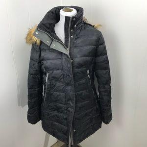 Black Winter Coat By Vince Camuto Faux Fur Hood